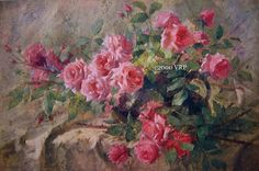 PRINT FREE SHIP French Pink Roses Franz by artist Franz Mortelmanns