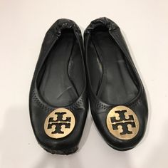 Tory burch shoes *read description* Black reva flats. As you can see by the pictures one shoe's toe has come apart from the shoe. Nordstrom does repairs and could fix this. Don't know what it would cost. Other then that one big issue these are in great condition. Tory Burch Shoes Flats & Loafers