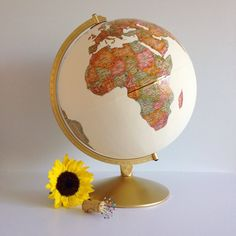 Hand Painted Travel World Globe with Continents Exposed + Custom Quote and Pearl, Silver, or Gold Pinpoints on Special Places