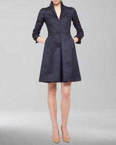 Silk+Ottoman+A-Line+Coat+Dress+by+Akris+at+Neiman+Marcus.
