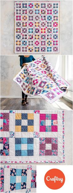 Hopscotch Chelsea Rose Quilt Kit by Craftsy.com. Modern 9 patch quilt kit includes fabrics and quilt pattern to make your own quilt. Nine patch quilt is made using Boundless Chelsea and Rose fabrics by Craftsy. Fun and modern plus quilt. Affiliate link.