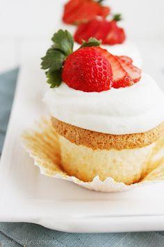 Angel Food Cupcakes http://www.thecomfortofcooking.com/2014/04/angel-food-cupcakes.html
