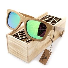 Handmade Natural Bamboo Wooden Polarized Mirror Sunglasses
