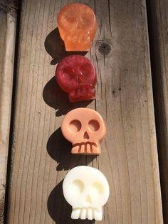Set of 4 Halloween Skulls natural mini soaps