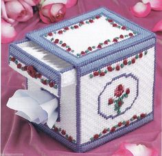 **FLORAL SURPRISE TISSUE BOX COVER WITH DRAWER-PATTERN**PLASTIC CANVAS PATTERN** #PLASTICCANVASPATTERNFROMABOOKORMAGAZINE