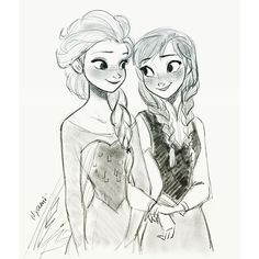 Anna and Elsa by Nyamo
