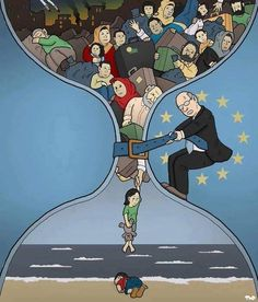 Tjeerd Royaards Refugee crisis - Will the death of Aylan Kurdi change anything? Political Art, Political Cartoons, Satire, Poema Visual, Syrian Children, Satirical Illustrations, Refugee Crisis, Social Art, Powerful Images