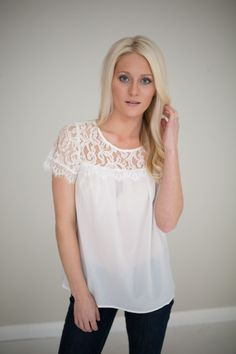 Magnolia Boutique Indianapolis - Short Sleeve Lace Shoulder Top- Ivory, $32.00 (http://www.indiefashionboutique.com/short-sleeve-lace-shoulder-top-ivory/)