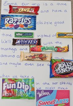 Birthday Wishes Using Candy Bars | birthday poems that use candy bar names. How to make a poem with real ...