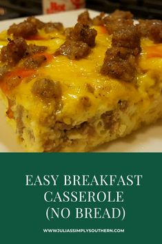 Easy and Delicious Breakfast Casserole made with no bread for a low carb meal. This is perfect to make ahead and reheat in the morning. Leftovers are great! Best Breakfast Casserole, Breakfast Dishes, Breakfast Time, Breakfast Recipes, Make Ahead Breakfast Casseroles, Low Carb Breakfast Easy, Overnight Breakfast Casserole, Brunch Casserole, Low Carb Casseroles