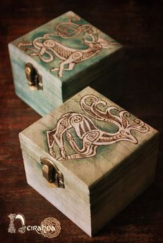 Celtic stag wood boxes by LuthienSecrets.deviantart.com on @deviantART