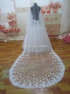 Bridal Long veils with Pearls wedding Veil SF007 $62.55