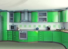 Idea Of The Day Curvy Modern Green Glossy Kitchen Wowzers