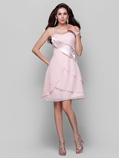 Cocktail Party/Homecoming Dress - Pearl Pink Plus Sizes A-line/Princess Spaghetti Straps Short/Mini Chiffon/Stretch Satin - USD $109.99