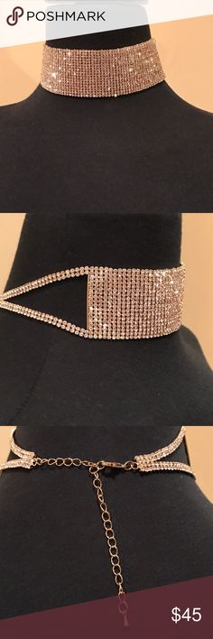 Crystal Studded Gold Choker With Extension Crystal studded gold Choker, approximately 12\