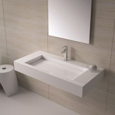 Matte White Wall Hung Solid Surface Stone Resin Sink contemporary bathroom sinks