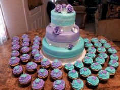 Purple and Turquoise cake and cupcakes