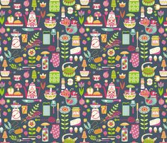 Retro kitchen in blue fabric by irrimiri on Spoonflower - custom fabric  (Kitchy for the kitchen??)