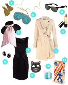 For my Breakfast at Tiffany's party I gave blue eye masks and cracker jacks as party favors, my friends wore black dresses and sunglasses and I used a cat mask for the photo booth. Lusting After Life .com