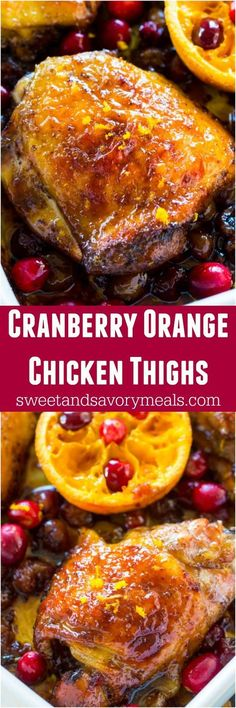 Cranberry Orange Chicken is the perfect, seasonal fall meal made with juicy, tart cranberries and fresh orange juice and zest. #chicken #onepan #cranberry