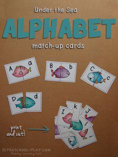 Under the Sea Alphabet Match-Up Puzzles. Part of our Under the Sea Math and Literacy pack. #preschool #prek #kindergarten #homeschool #prekactivities #preschoolactivities #kidsactivities #math #literacy #underthesea #oceantheme #printables #teacherspayteachers
