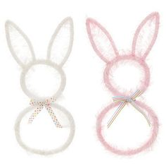 """RAZ+Bunny+Wreath++White,+Pink+Priced+individually,+choose+color+16""""+Made+of+Plastic+++++"""