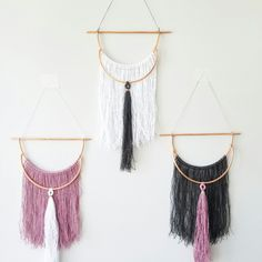 Add a modern bohemian vibe to your home decor with these 100% linen and hand bent copper wall hangings!