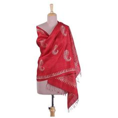 NOVICA Block Printed Fringed Leaf Motif Silk Shawl from India ($53) ❤ liked on Polyvore featuring accessories, scarves, clothing & accessories, red, shawls, red shawl, novica, fringe shawl, fringe scarves and silk scarves