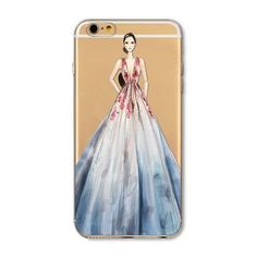 For iPhone 4 4S 5 5S SE 6 6s 6Plus 6sPlus Phone Case Cover Fashion Dress Shopping Girl Transparent Soft Silicon Mobile Phone Bag