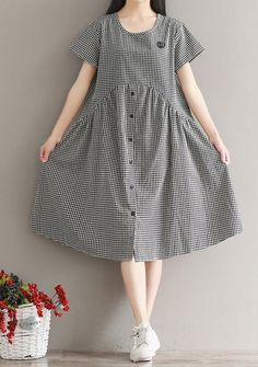 Women loose fit plus over size checkered dress tunic button skater fashion chic #unbranded