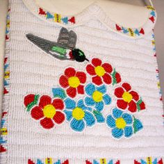 Choctaw Indian Designs | Beaded Hummingbird & Flower Bag by Elena Carol Pate (Choctaw)