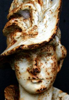 Vintage Rusted Bust of 18th Century European Gentlewoman