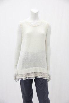 ruffled sleeveless knitted top