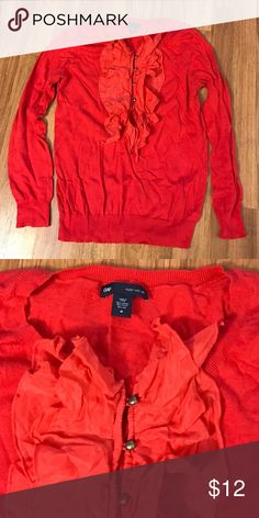 GAP Ruffle sweater Pretty red 3/4 sleeve sweater with ruffle and gold buttons in front. Plain back. 70%cotton/20%nylon/ 10%silk. Some piling under arms but still in great condition. GAP Sweaters Crew & Scoop Necks