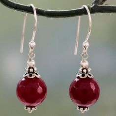 Novica Handmade Sterling Silver 'Glorious Red' Agate Earrings (India) (Solid), White, Size 10 mm wide x 33 mm long x 10 mm deep Story Behind the Art: Narayani treasures her Indian culture and traditions, which are evident in her designs