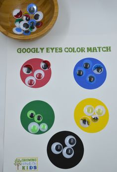 Googly eyes color matching activity for the Letter G letter of the week tot-school theme.