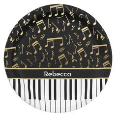 Elegant golden music notes piano keys 9 inch paper plate