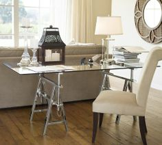 """Pottery Barn -- Sawhorse Metal & Tempered Glass Desk Top in Chrome Finish:  $899 (Dimensions:  72""""W x 35""""D x 30""""H)"""