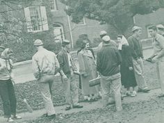 """Students working during """"Campus Cleanup"""" during homecoming 1948. From the 1949 Oregana (University of Oregon yearbook). www.CampusAttic.com"""