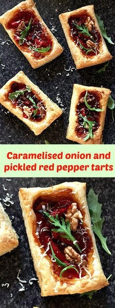 Puff pastry tarts with caramelised onions, pickled red peppers, spicy tomato chutney and walnuts, a delightful vegetarian appetizer.