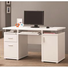White Computer Desk with 2 Drawers & Cabinet