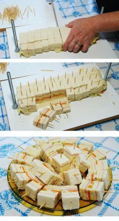 Toma nota de estas llamativas ideas para presentar dulces, frutas, postres o bocadillos en un buffet o mesa de fiesta. Mini Sandwiches, Easy Finger Sandwiches, Baby Shower Sandwiches, Breakfast Sandwiches, Baby Shower Food Easy, Easy Wedding Shower Food, Oreo Pops, Snacks Für Party, Food Presentation