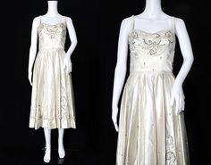 1950s Ivory Satin Beaded Dress