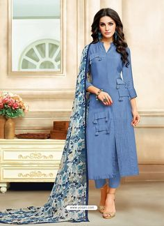Women's Chanderi Cotton Dress Material With Dupatta from Stf Store New Kurti Designs, Kurta Designs Women, Salwar Designs, Kurti Designs Party Wear, Salwar Kameez, Churidar, Dress Neck Designs, Blouse Designs, Girls Party