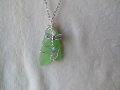 BOHO Handmade Wire wrapped Genuine Lt. Green Sea Glass with Swarovski Dragonfly