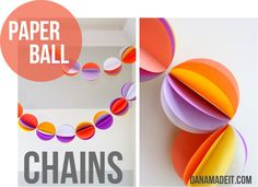 Paper Ball Chains - Simple using a paper punch and sewing it together.  Change up the paper colors for various seasons!
