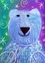 elementary art lesson polar bear - good way to pratice directional line work