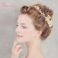 bridal Wedding Party Gold Plat Royal Hair Jewelry Pearl Headbands Flower Head Piece Bride Tiaras Wedding Hair Accessories RE586 #Affiliate