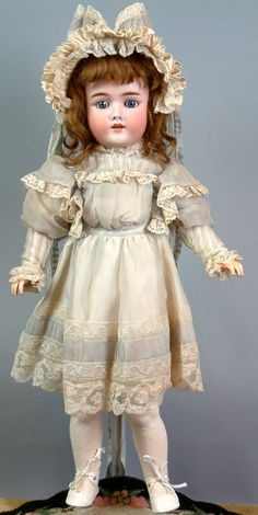 "Delectable 24"" Heinrich Handwerck 69 Antique Doll c1900 in Lovely Costume $1NR 