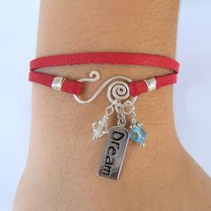 Red Leather Wrap Charm Bracelet - Silver Dream Tag  - Blue & Clear Crystal Beads - Spiral Wire Closure - Genuine Soft Deerskin Leather Lace via Etsy